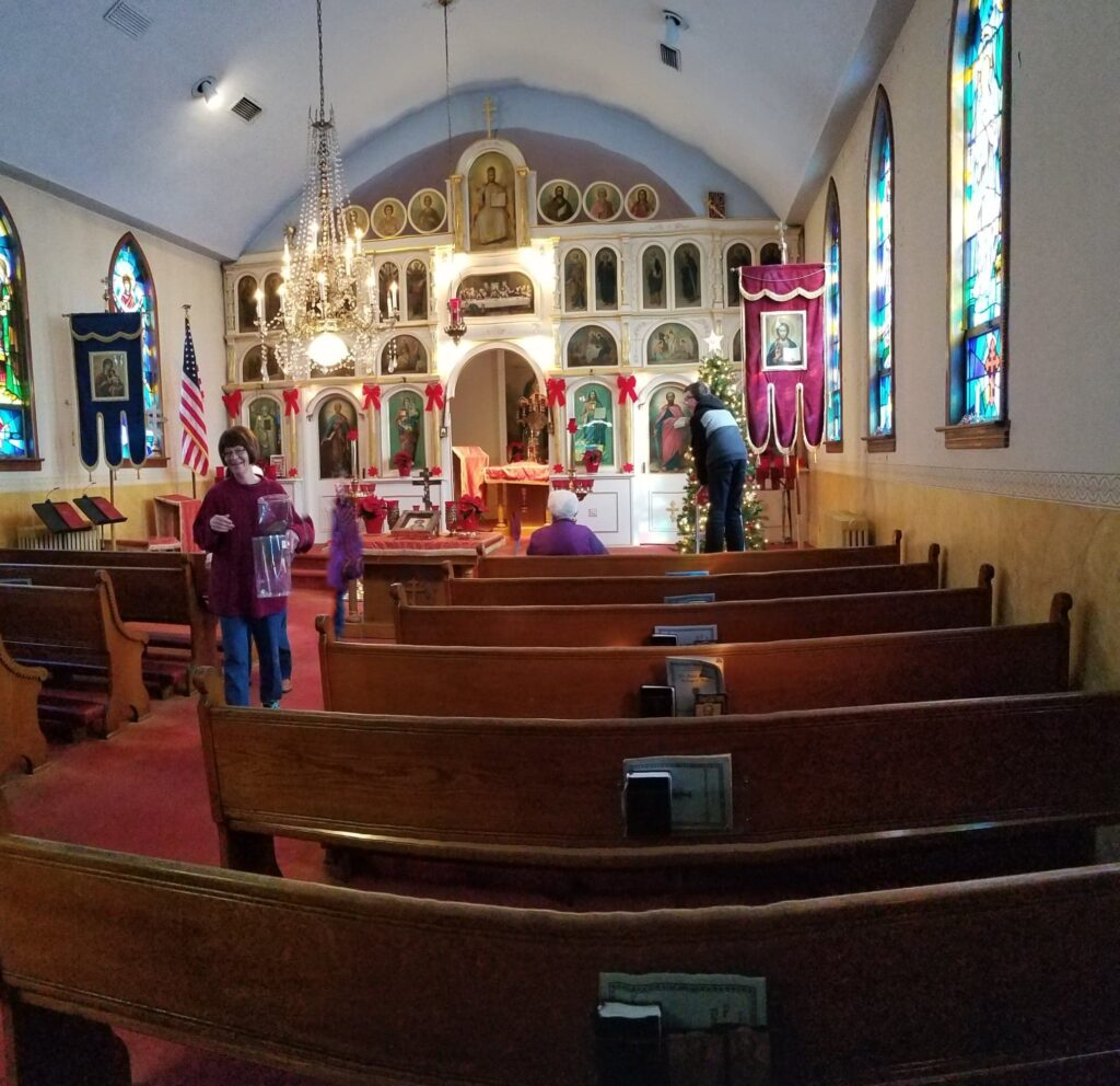 Decorating and cleaning, St. Marys Orthodox Church
